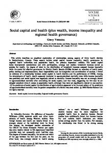 Social capital and health (plus wealth, income inequality and regional health governance)