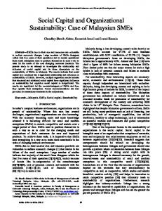 Social Capital and Organizational Sustainability: Case of Malaysian SMEs