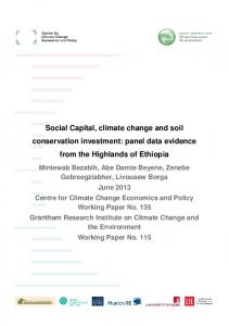 Social Capital, climate change and soil conservation investment: panel data evidence from the Highlands of Ethiopia