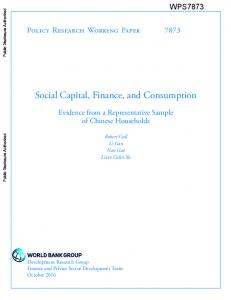 Social Capital, Finance, and Consumption