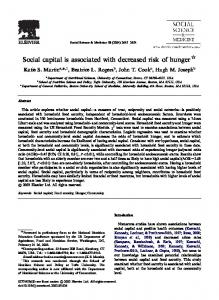Social capital is associated with decreased risk of hunger $
