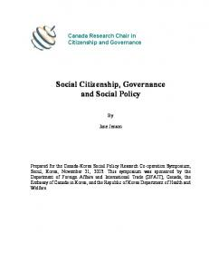 Social Citizenship, Governance and Social Policy