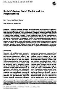 Social Cohesion, Social Capital and the Neighbourhood