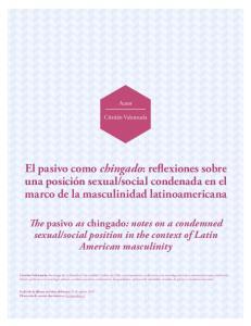 social condenada en el marco de la masculinidad latinoamericana