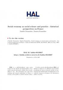 Social economy as social science and practice : historical perspectives on France