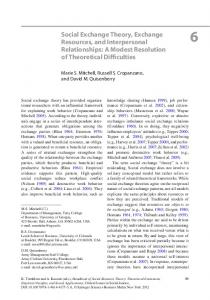 Social Exchange Theory, Exchange Resources, and Interpersonal Relationships: A Modest Resolution of Theoretical Difficulties