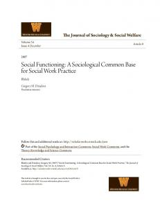 Social Functioning: A Sociological Common Base for Social Work Practice