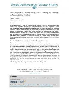 Social imagination, abused memory, and the political place of history in Memory, History, Forgetting