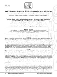 Social impairment of patients undergoing hematopoietic stem cell transplant