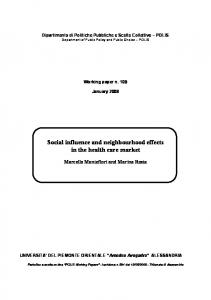 Social influence and neighbourhood effects in the health care market