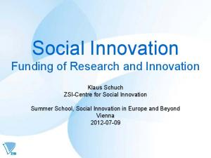 Social Innovation Funding of Research and Innovation