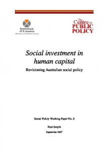 Social investment in human capital