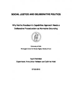 SOCIAL JUSTICE AND DELIBERATIVE POLITICS
