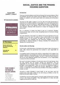 SOCIAL JUSTICE AND THE PENANG HOUSING QUESTION