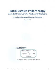 Social Justice Philanthropy An Initial Framework for Positioning This Work