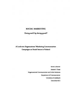 SOCIAL MARKETING. Doing well by doing good?