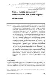 Social media, community development and social capital