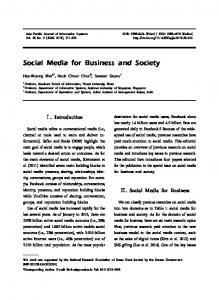 Social Media for Business and Society