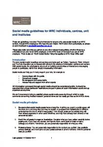 Social media guidelines for MRC individuals, centres, unit and institutes