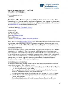 SOCIAL MEDIA MANAGEMENT SYLLABUS MMC SUMMER COURSE INFORMATION Credits 03
