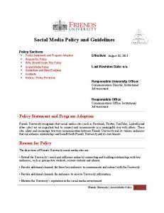 Social Media Policy and Guidelines