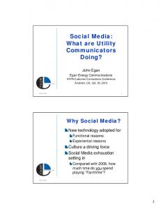 Social Media: What are Utility. Doing?