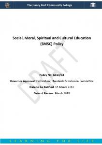 Social, Moral, Spiritual and Cultural Education (SMSC) Policy