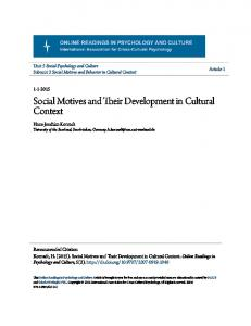 Social Motives and Their Development in Cultural Context