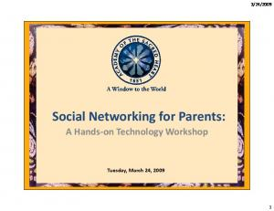 Social Networking for Parents: A Hands-on Technology Workshop