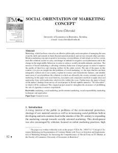 SOCIAL ORIENTATION OF MARKETING CONCEPT *