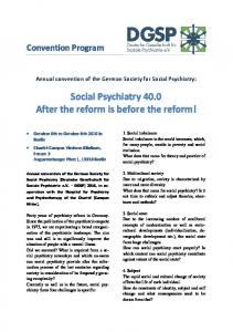 Social Psychiatry 40.0 After the reform is before the reform!