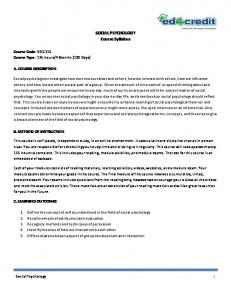 SOCIAL PSYCHOLOGY Course Syllabus