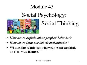 Social Psychology: Social Thinking