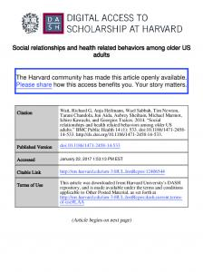 Social relationships and health related behaviors among older US adults