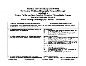 Social Science Content Standards Prentice Hall's World Explorer 1998