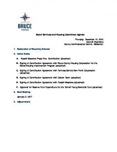 Social Services and Housing Committee Agenda
