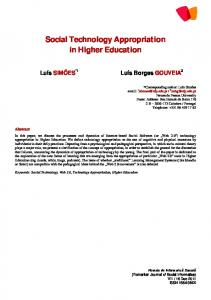 Social Technology Appropriation in Higher Education