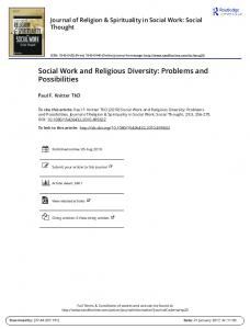 Social Work and Religious Diversity: Problems and Possibilities
