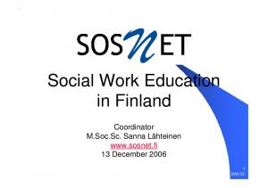 Social Work Education in Finland