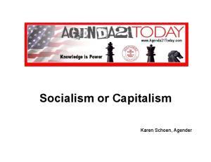 Socialism or Capitalism. Karen Schoen, Agender