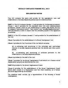 SOCIALLY DISPLACED PERSONS BILL, 2013 EXPLANATORY NOTES