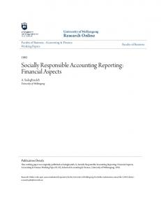 Socially Responsible Accounting Reporting: Financial Aspects