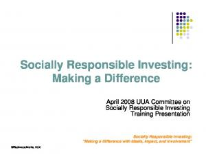 Socially Responsible Investing: Making a Difference