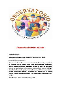SOCIEDAD EDUCADORA Y BULLYING