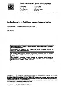 Societal security Guidelines for exercises and testing