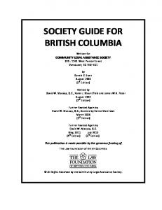 SOCIETY GUIDE FOR BRITISH COLUMBIA