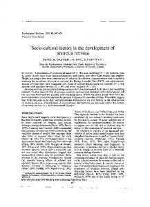 Socio-cultural factors in the development of. anorexia nervosa