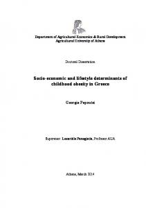 Socio-economic and lifestyle determinants of childhood obesity in Greece