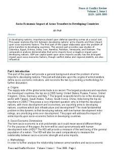 Socio-Economic Impact of Arms Transfers to Developing Countries
