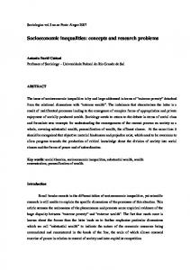 Socioeconomic inequalities: concepts and research problems